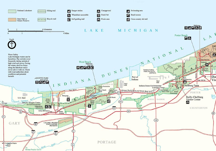 Detailed Map Of The West Portion Of Indiana Dunes National