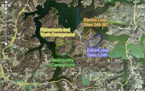satellite map of Patoka Lake camping in Newton-Stewart SRA
