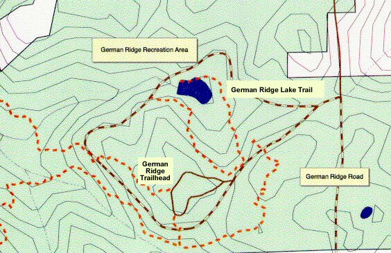 Topographic map of German Ridge Lake Trail in Hoosier