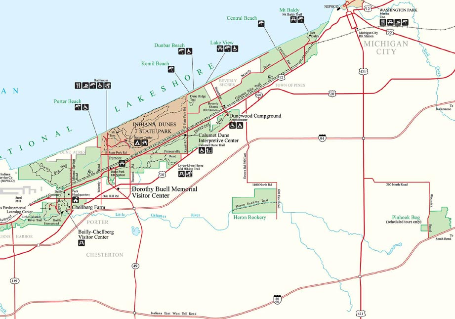 Michigan And Indiana Map.Map To Indiana Dunes National Lakeshore In Indiana