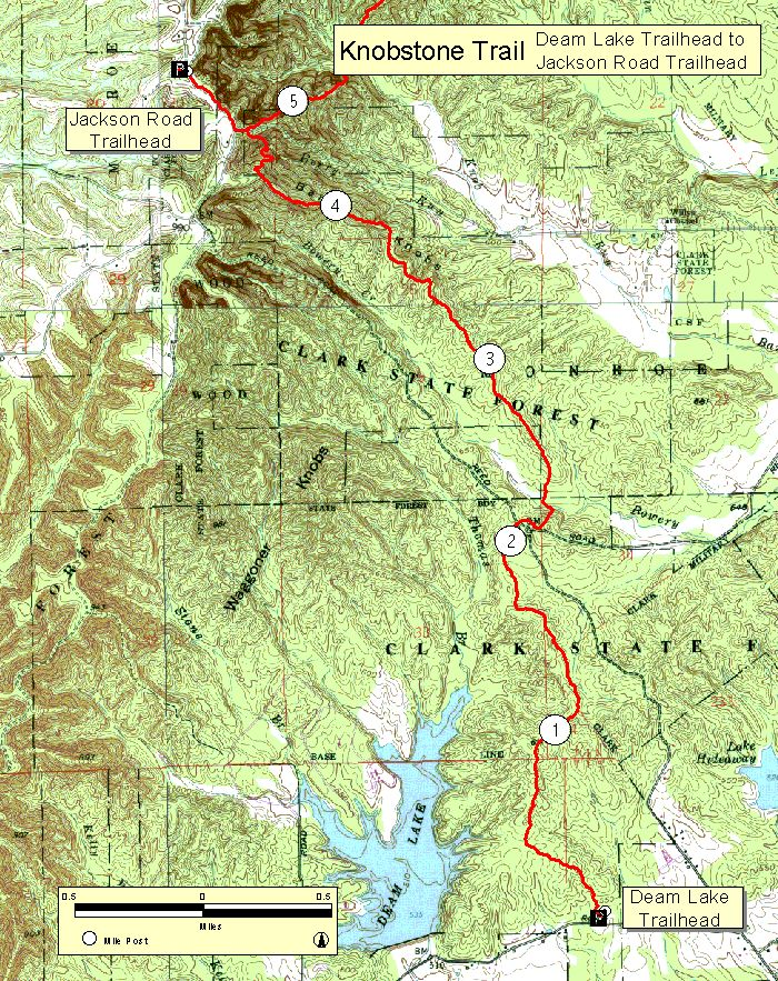Topographic Map Of Jackson Road To Deam Lake Trailheads On Knobstone - Topo trail maps