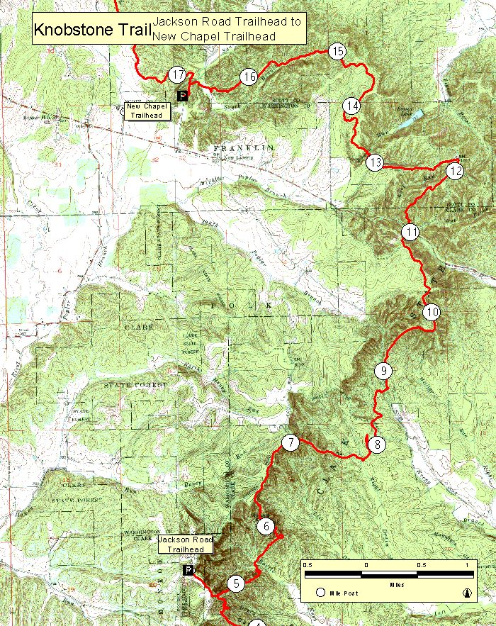 Topographic map of Jackson Road to New Chapel Trailheads ...